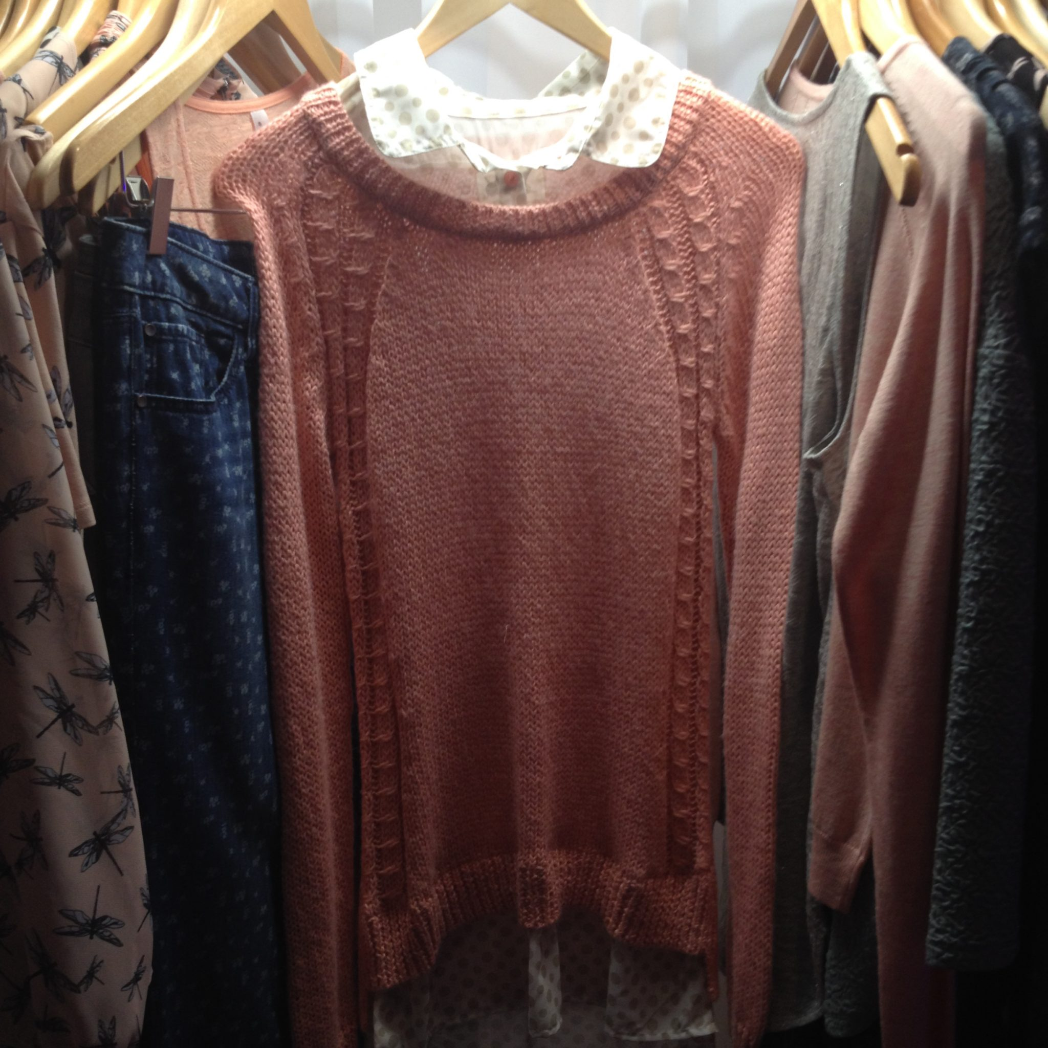 textured jumpers of sheer blouses