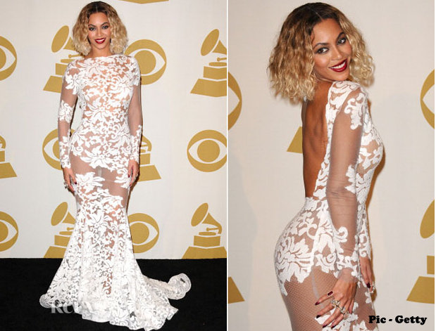 Beyonce White Sheer Dress Grammys 2014