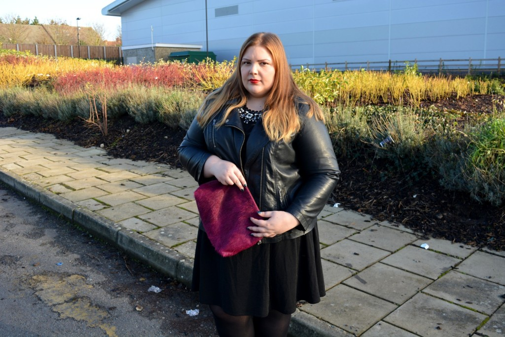 Elvi Black Dress, Simply Be PU Jacket - Plus Size blogger