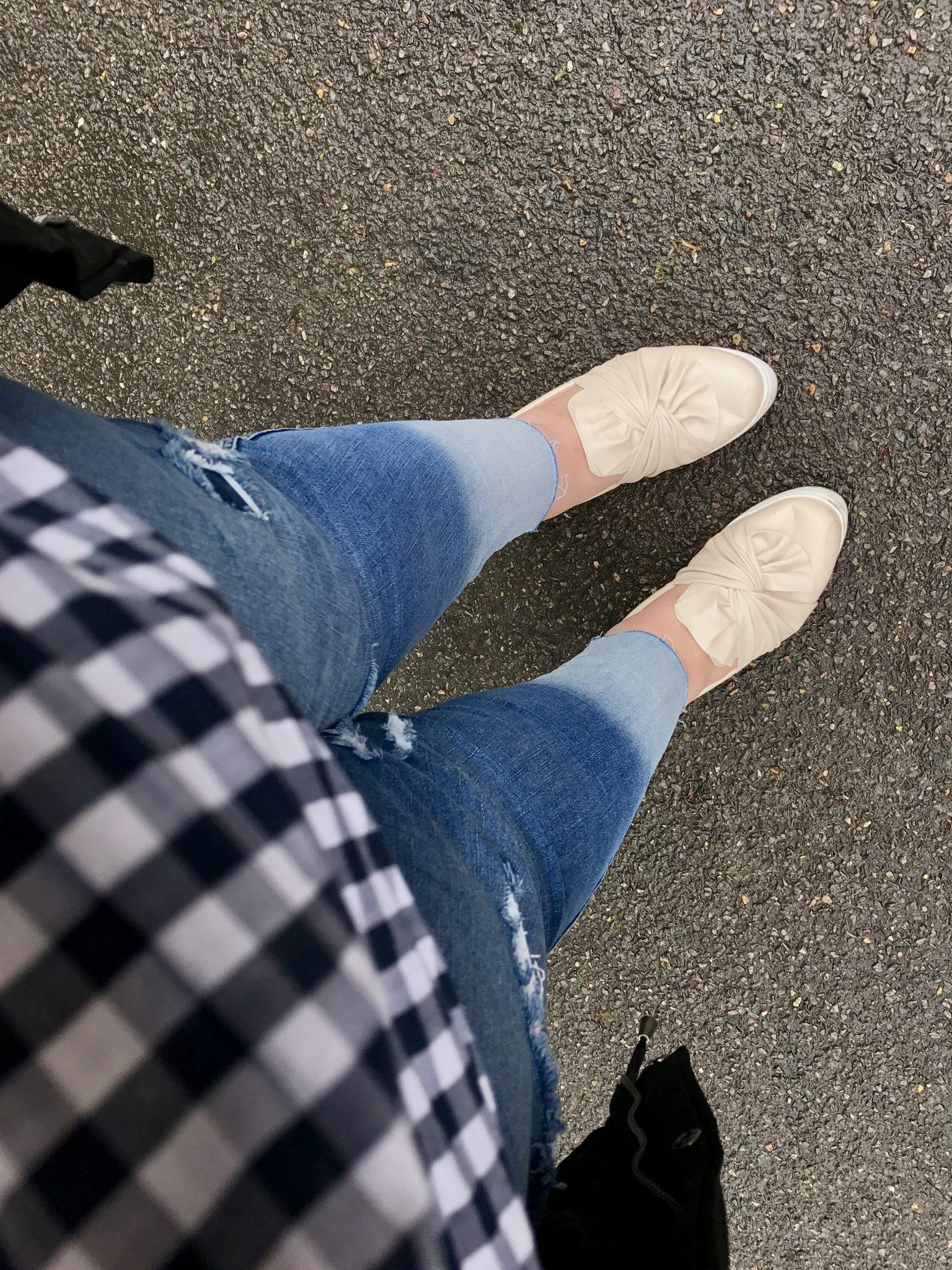 Bleached hem plus size skinny jeans - pretty big butterflies
