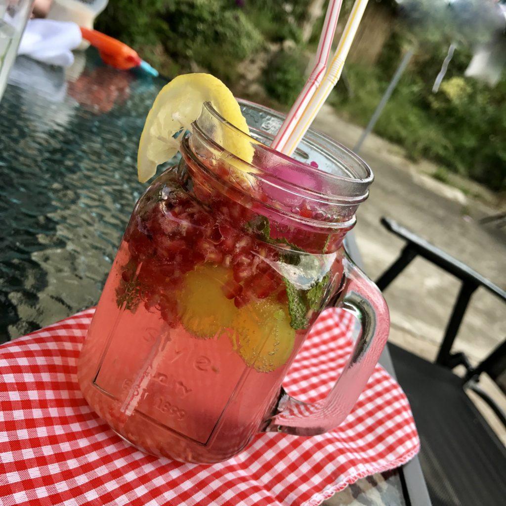 Home made raspberry lemonade - pretty big butterflies